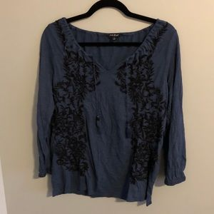LUCKY BRAND   Lace up embroidered shirt